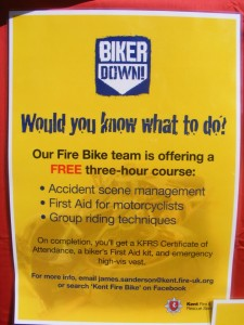 Biker down flyer, offering a free three hour course in dealing with accidents, first aid, group riding techniques.