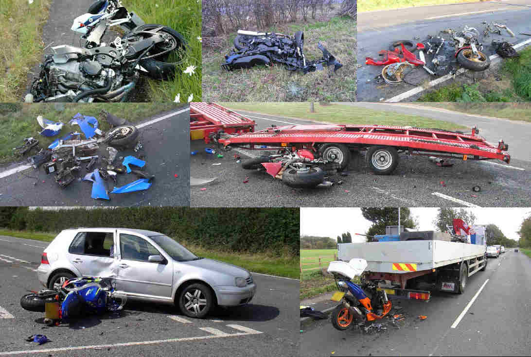 A collage of accident scenes from bike crashes, most of them with cars, and most fatal.