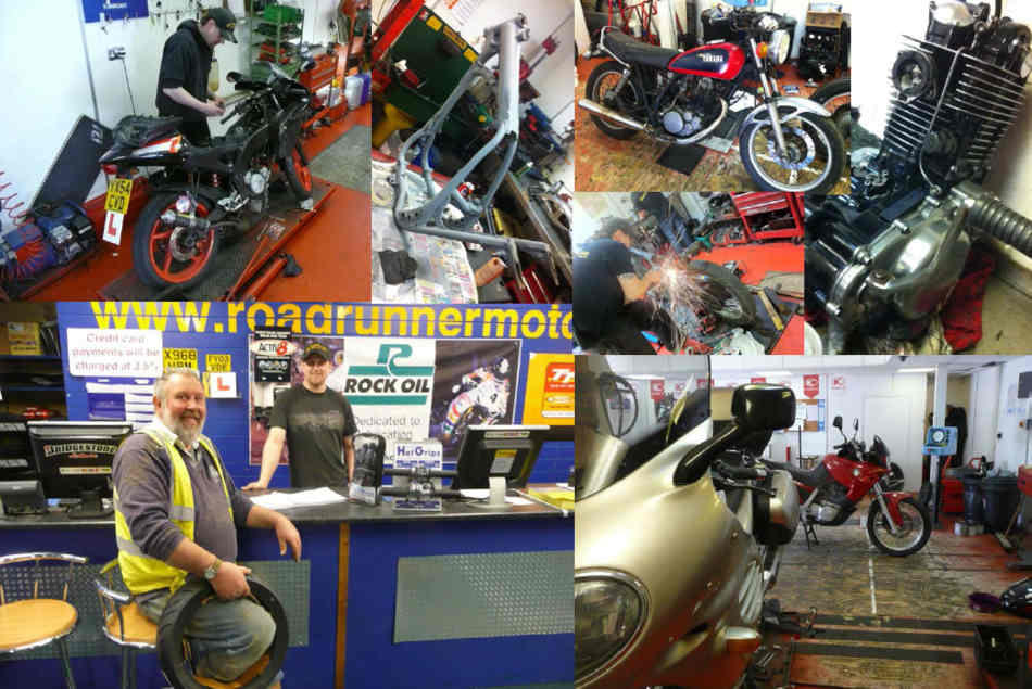 A collage of photos of the inside of RoadRunner, various bikes, engines, maintenance ramp, customer area.