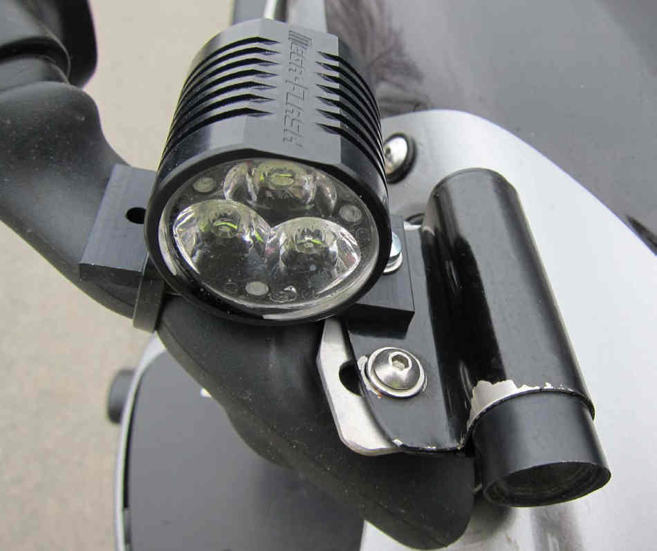 A close up of a camera lens and high intensity light unit fitted to the Hayabusa