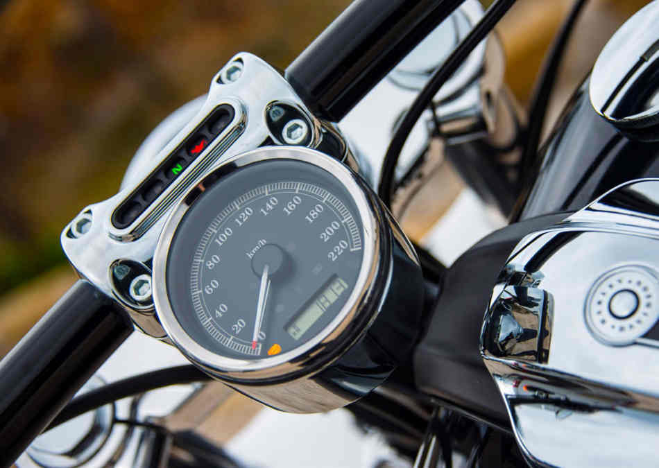 A close up of the chrome speedo of the Breakout, reading up to 220 km/h.