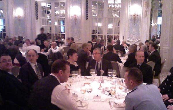 The team grouped round their table at the awards ceremony dinner.