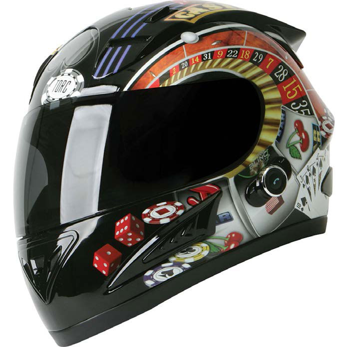 Helmet with casino graphics