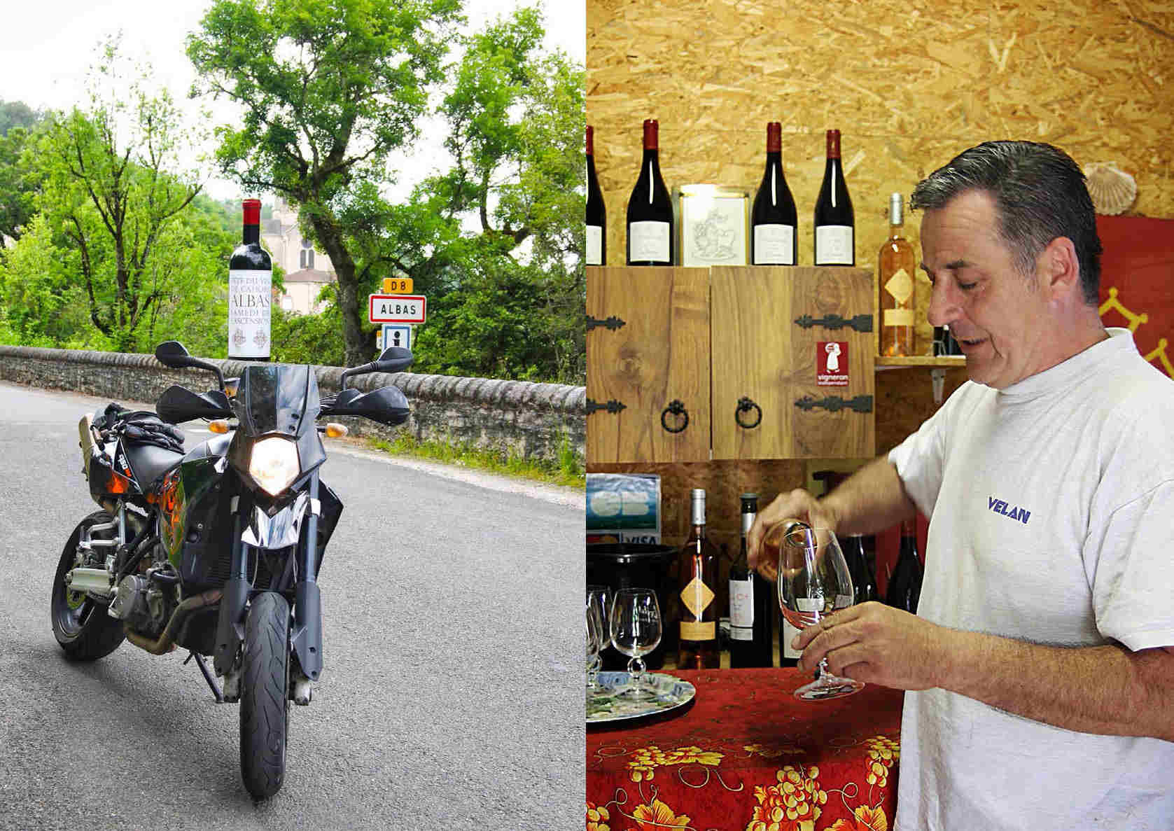 Collage picture, left side KTM parked on the road with a view into a valley in the background, right side, Pierre pouring a glass of his own wine.