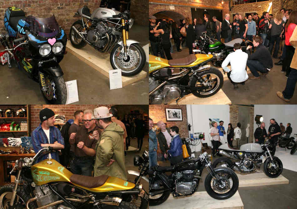 Four pictures of various customised bikes, cafe racers and flat trackers