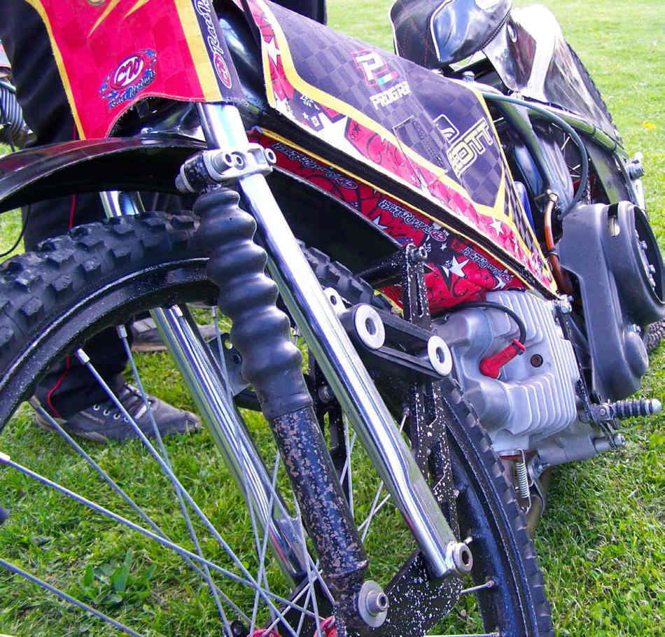Close up of the front of a speedway bike
