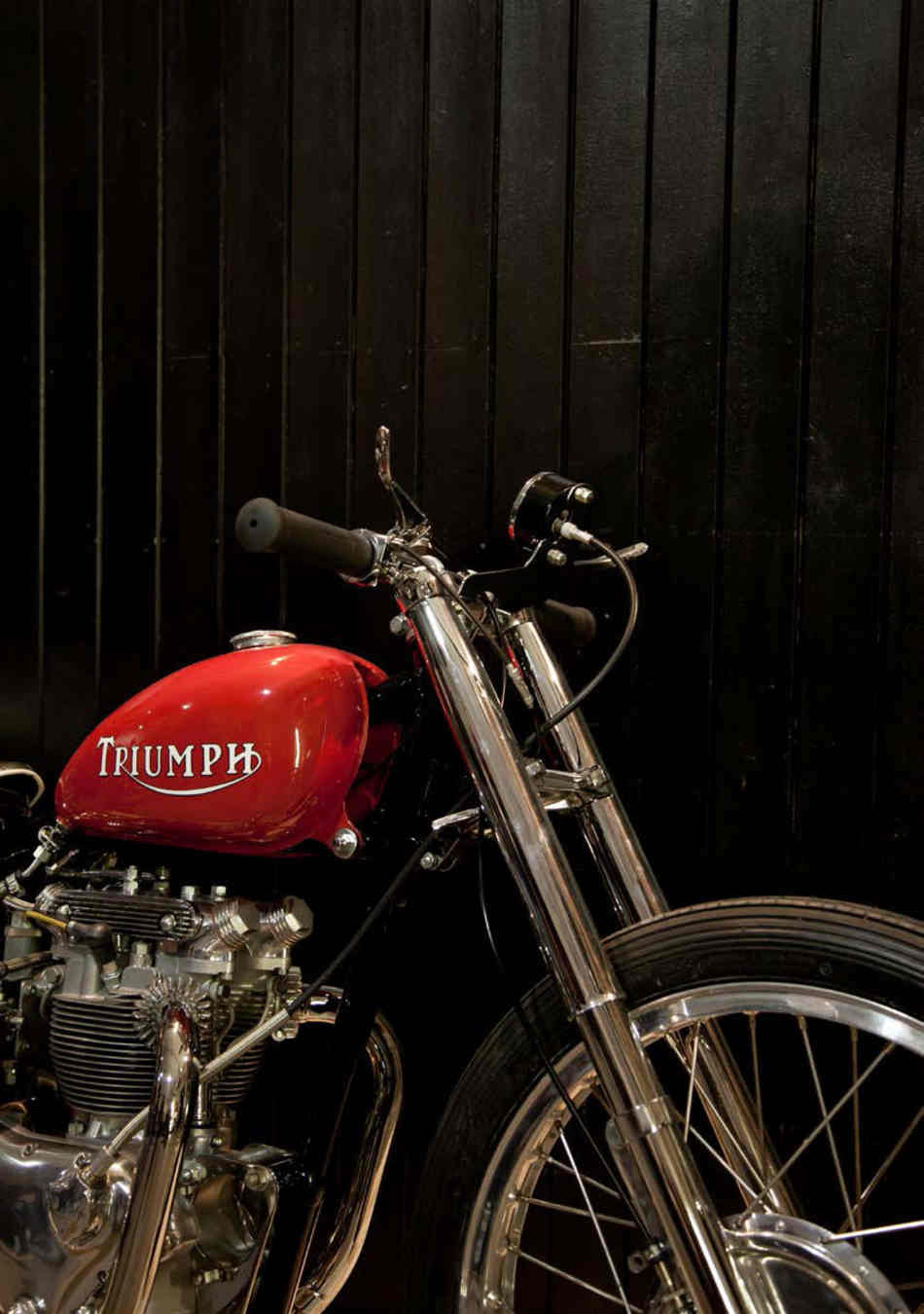 Front of a customised Triumph twin