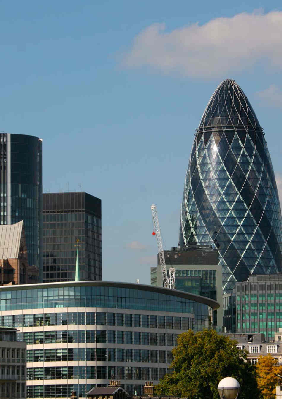 A view of the gherkin building in London
