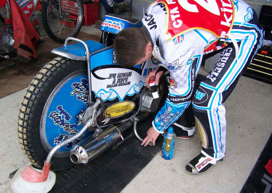 Bike being prepped in the pits