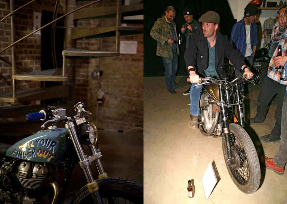 Two pictures, a bike in front of a spiral staircase, and a juy sitting on a single cylinder flat tracker