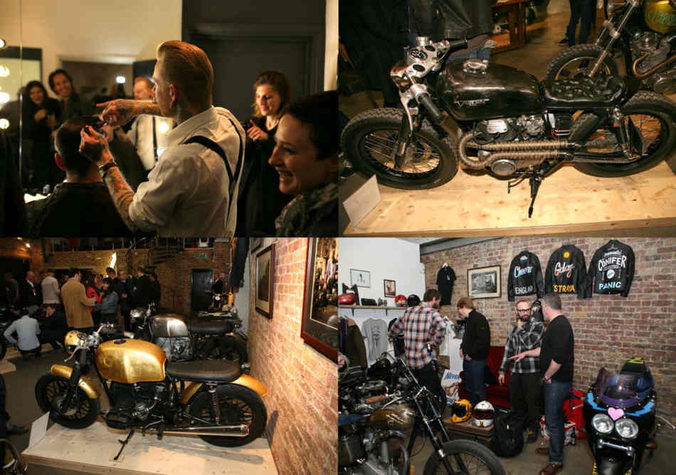 Four pictures, a guy cutting hair in one, and the other of various customised bikes
