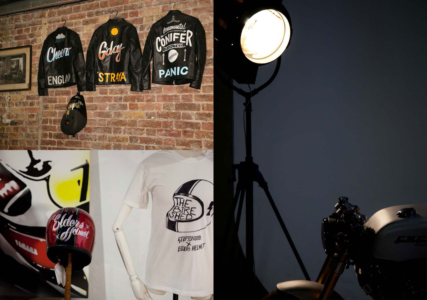 Three pictures, some leather jackets on a wall, a bike shed T shirt, and a spotlight on a cafe racer custom.