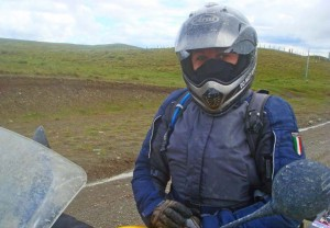 Close up of rider in helmet and balaclava