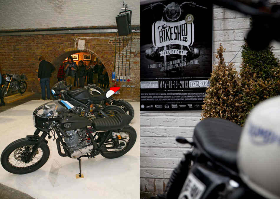 Two pictures, a cafe racer Yamaha single, and s Bikeshed poster seen past an out of focus Triumph