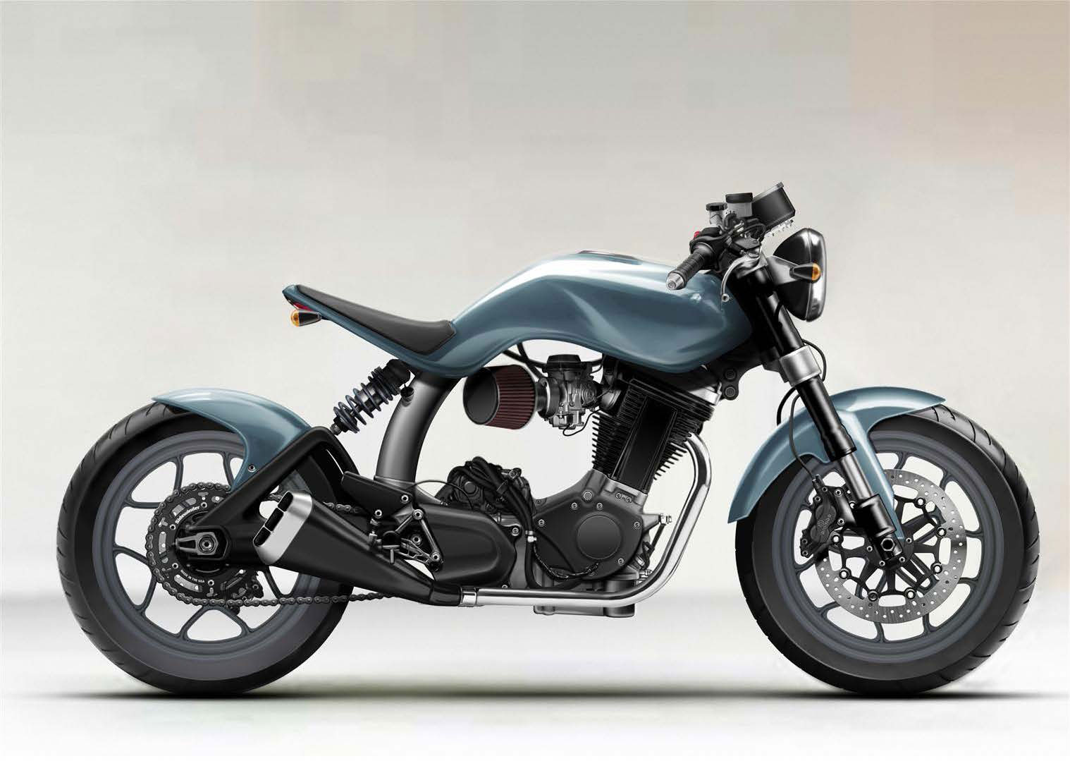 Artist impression of a Mac motorcycles Ellis Pitt's Ruby single cylinder custom