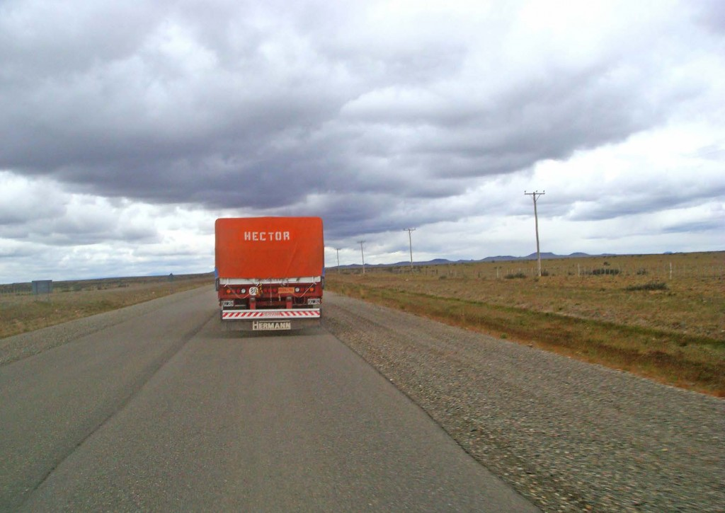 View of the back of truck on an Argentinian road.