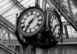 A clock in a London station