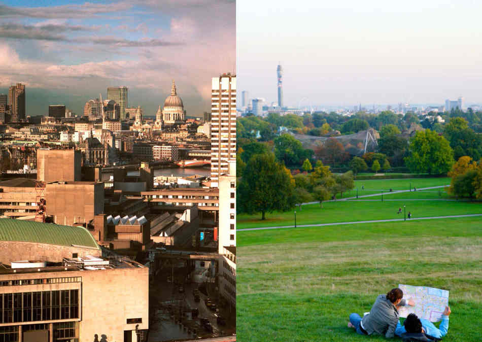 Two different London landscapes, on from Primrose hill, the other the city