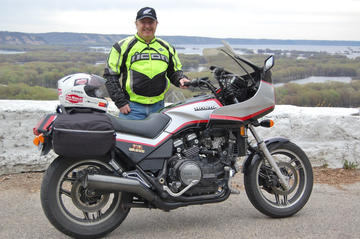 1984 Honda VF1100S above the Mississippi River