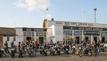view of a crowd of bikes outside the Ace Cafe London