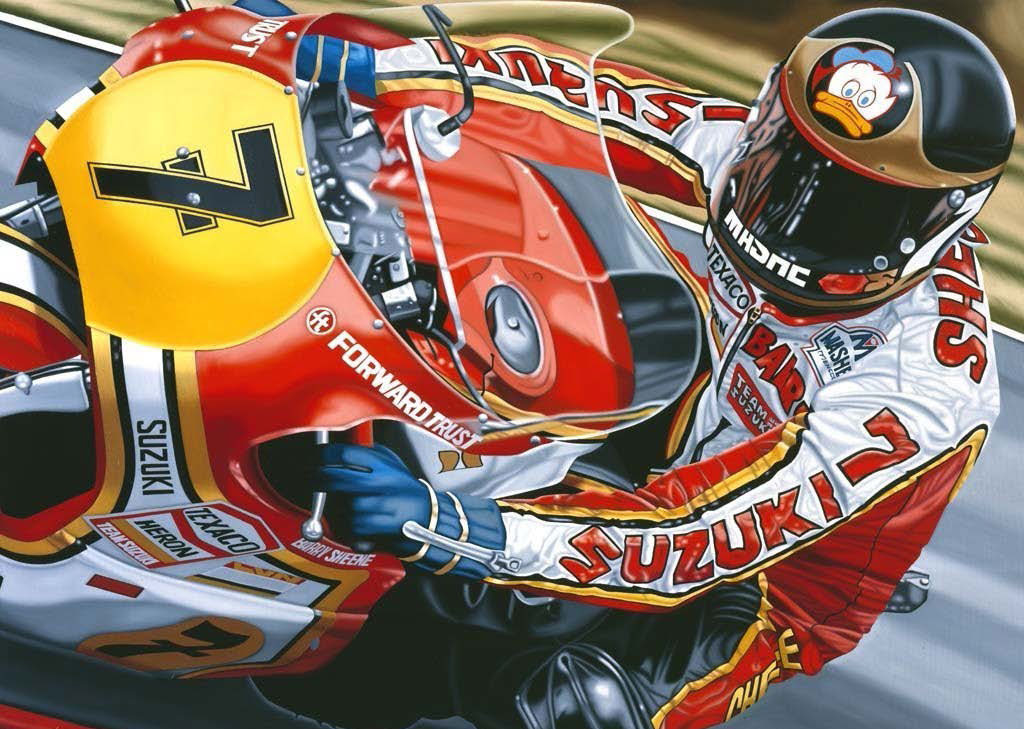 Painting a Barry racing his No 7 Suzuki, close up.