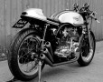 Triton (Norton feather bed frame with BSA Rocket 3 engine fitted) on a paddock stand