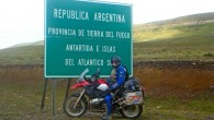 Parked by the side of a Argentinian border sign