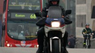 A despatch rider riding a Yamaha XJ600