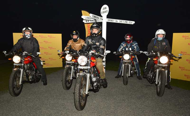 Doug Young, Sachin Chavan, Adarsh Saxena and Colin Johnstone and Philip Hogg commence Royal Enfield's 'Tip to Top' 50th anniversary ride,